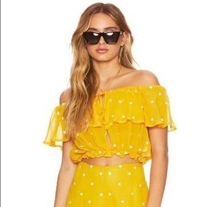 NEW Beach Riot Yellow Daisy Off The Shoulder Top